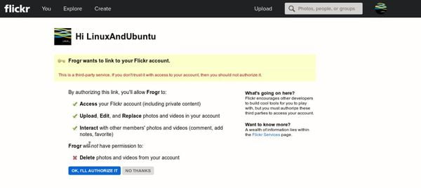 Authorize Frogr from Flickr login page