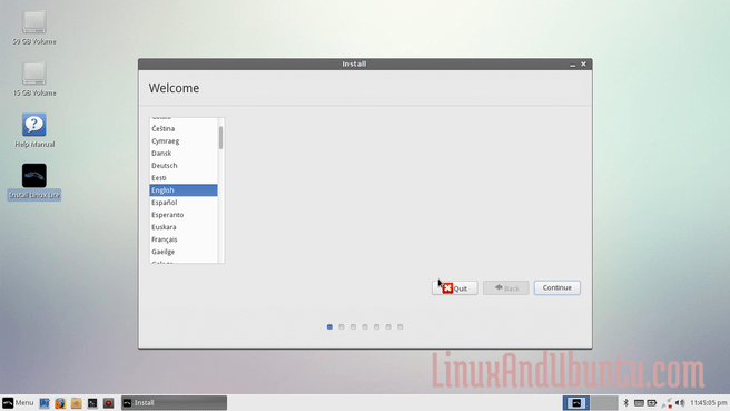 Select your preferred language in linux lite