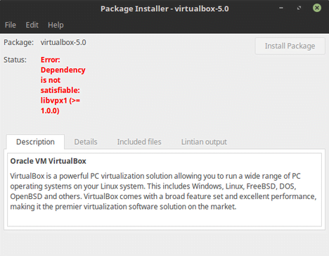 dependency is not satisfiable: libvpx1 virtualbox