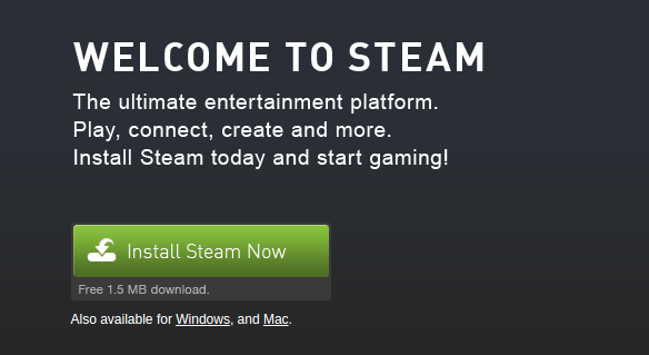 download and install steam gaming client from website