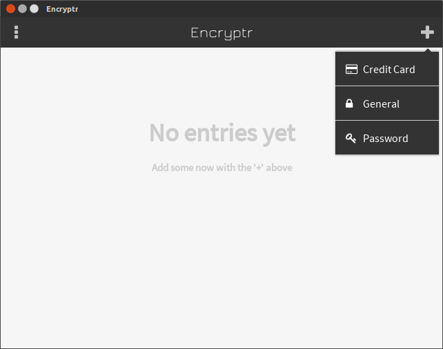encryptr save credit card, general and passwords
