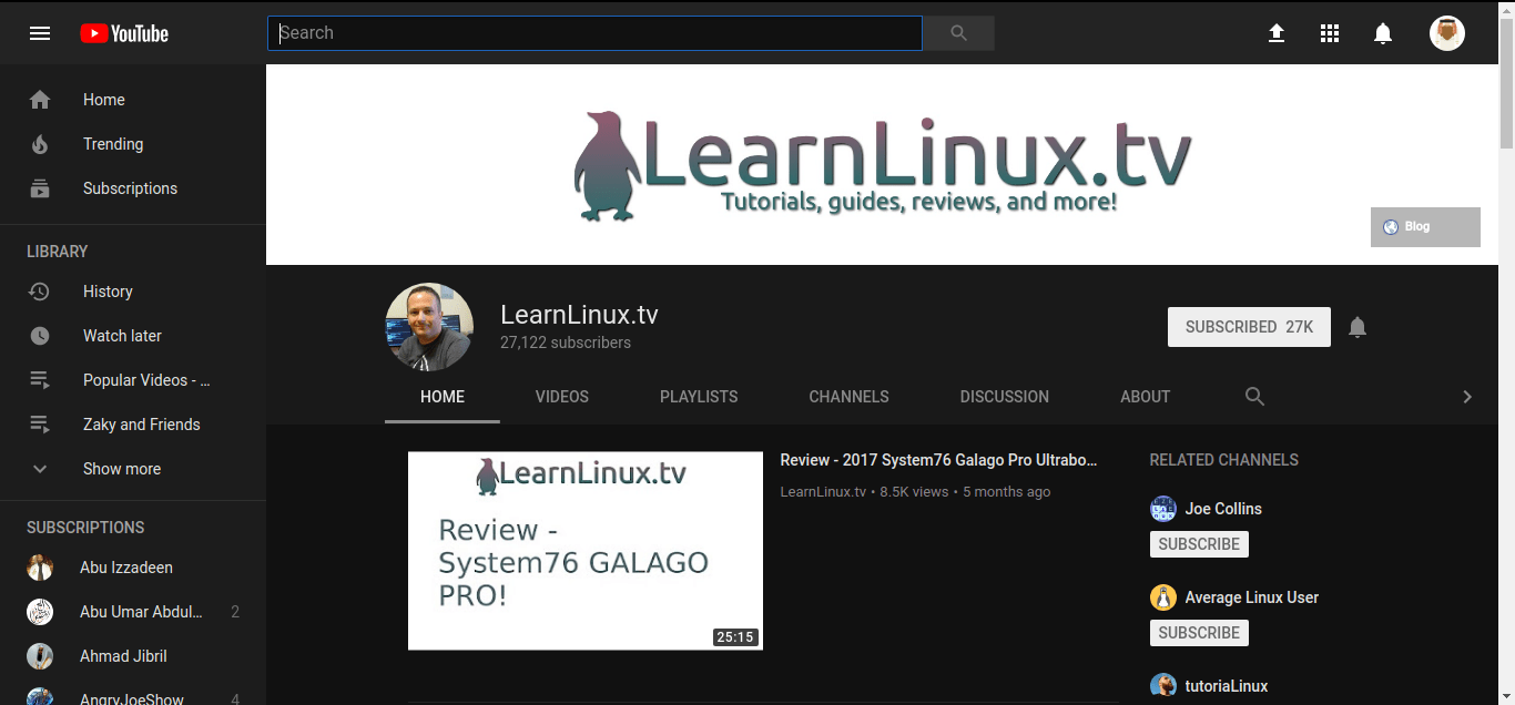 learnlinux.tv on youtube
