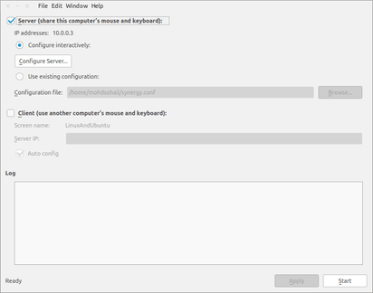 synergy configuration setting in windows & Linux