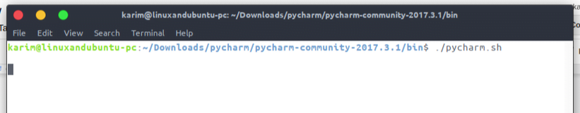 Starting pycharm in the terminal while in the bin folder
