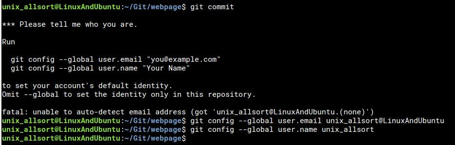 add user to git before commit