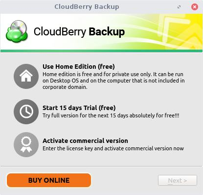 cloudberry backup select plan