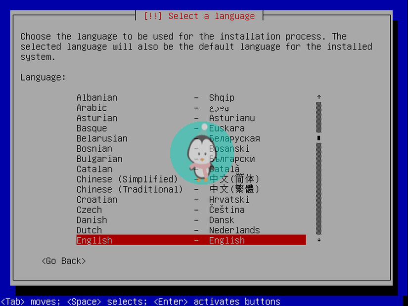 debian text based select language