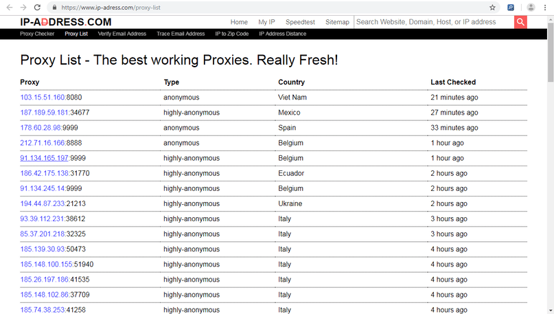 find proxies list