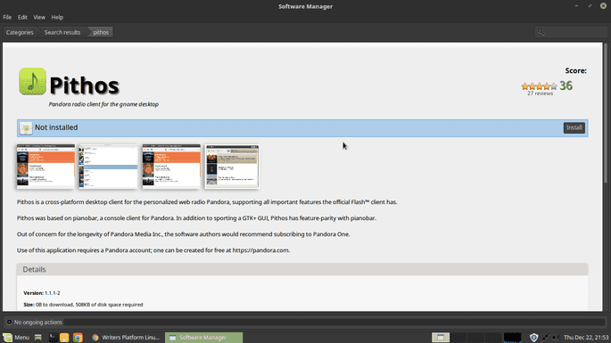 install pithos from ubuntu software manager