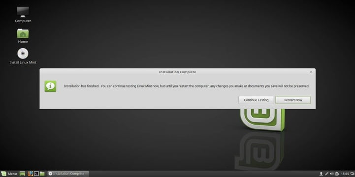 linux mint 18 installed successfully
