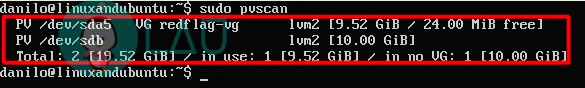 pvscan linux command for lvm partition