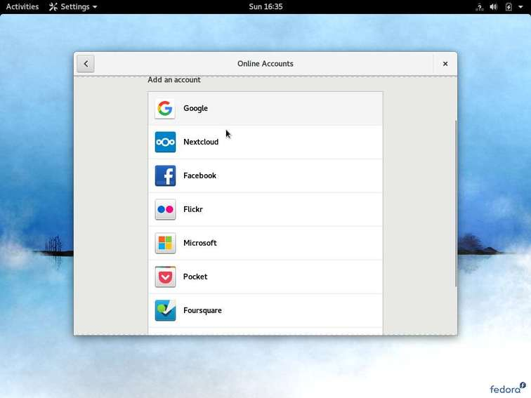 setup online accounts in fedora 26