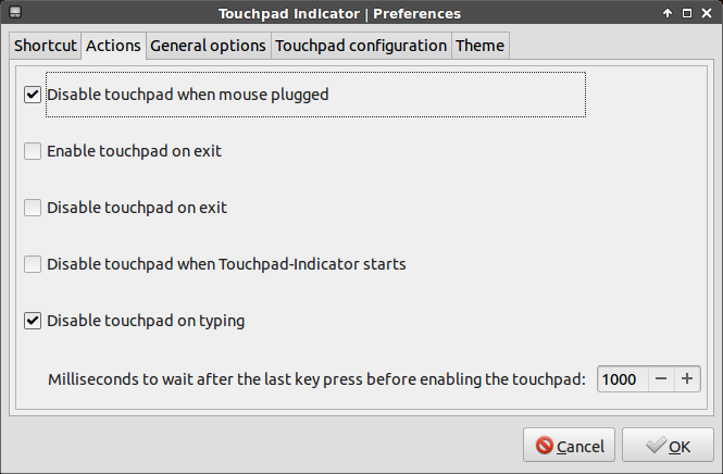 touchpad indicator actions settings