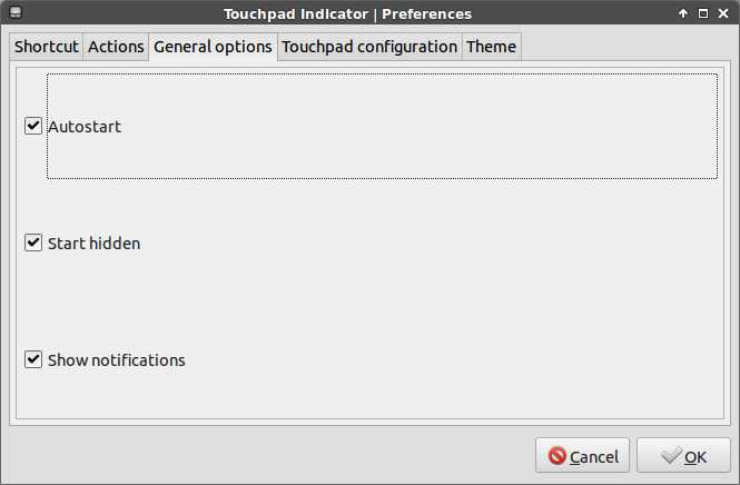 touchpad indicator general settings