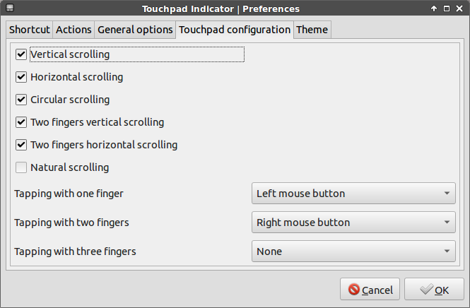touchpad indicator touchpad configuration