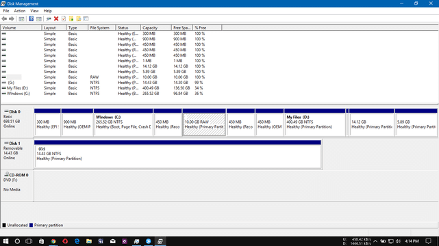 partition disc in disc management