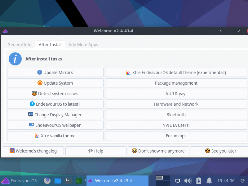 Endeavour OS welcome screen