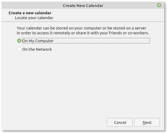 Thunderbird create new calendar