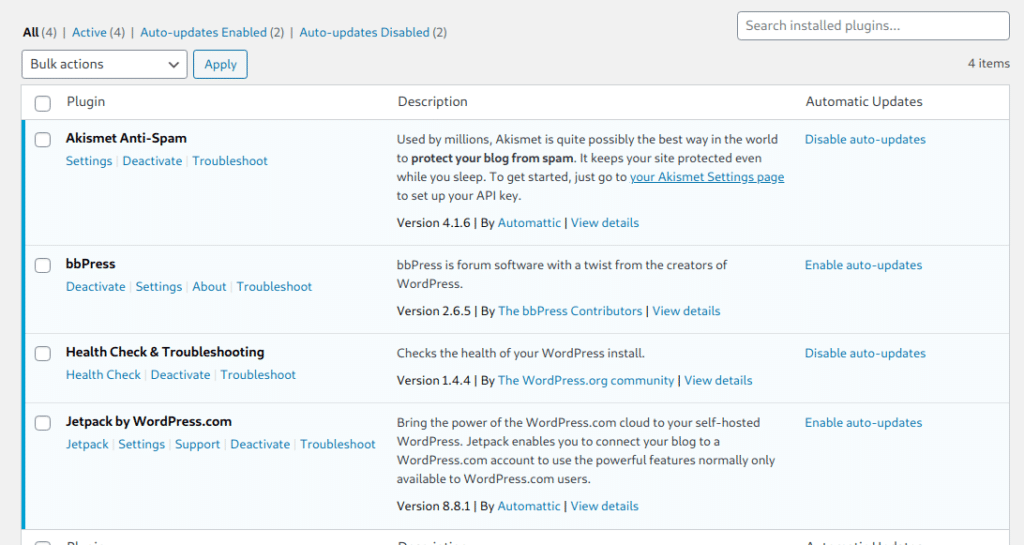WordPress auto update plugins