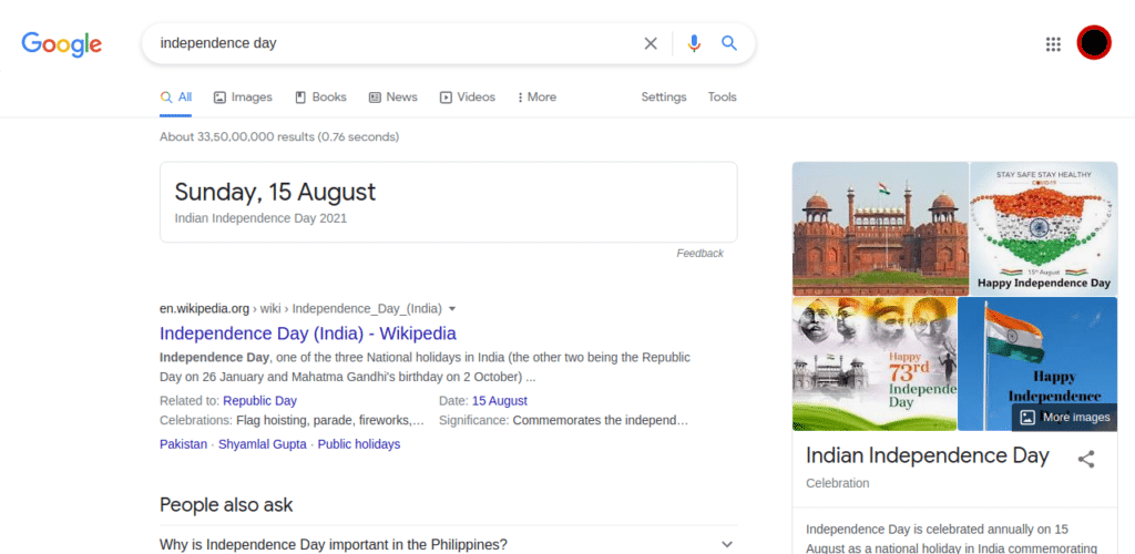Google results for independence